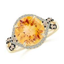 Round Citrine Brown Diamond Cocktail Ring in 14k Yellow Gold