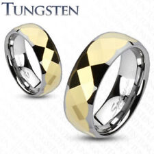 Multi Faceted Gold Stripe Tungsten Wedding Ring Size 5,6,7,8,9,10,11,12,13 (f94)