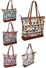 LADIES CANVAS BEACH SHOULDER BAG SUMMER TOTE HOLIDAY SHOPPER HANDBAG BUTTERFLY