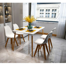 Modern Wood Legs Dining Table Set 4 White Chairs Dinner Kitchen Dinette Room USA