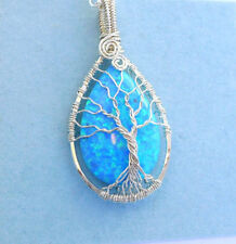 Opal Pendant Necklace,Simulated Blue Opal Tree of Life Necklace Sterling Silver