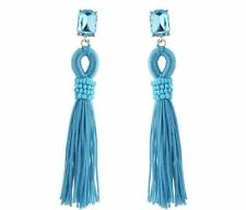 Women Candy Color Tassel And Square Shape Crystal Decorated Earrings B809