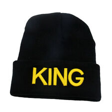 Fashion King Queen Letter Embroidery Couple Knitted Winter Warm Beanie Hat Showy