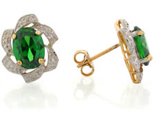 10k or 14k Two-Tone Gold Simulated Emerald May Birthstone Post Earrings