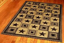 Country Star Black Braided Rectangle Area Rug By IHF Rugs. Many Sizes.