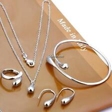 Women Fashion Jewelry Set Silver Water Drop Necklace Earring Ring Bangle BF9