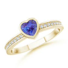 Heart Tanzanite Promise Ring with Diamond Accents 14k Yellow Gold Size 3-13