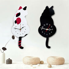 High Quality Mute Cute Acrylic Wall Clock No-trace Nails Wagging Tail Cat DIY