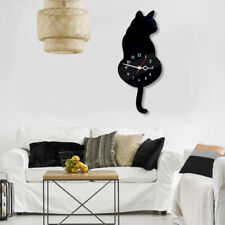 Room DIY Acrylic No-trace Nails Mute Wall Clock Swing Movement Cat Wagging Tail