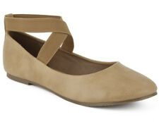 MaxMuxun Womens Shoes Elatic Crossing Straps Slip On Ballerina Flats Camel Size