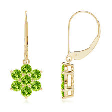 Round Peridot Floral Cluster Dangle Earrings 14k Yellow Gold
