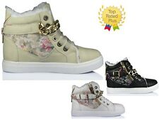 WOMENS LADIES FLAT LACE UP SPORT ANKLE BUCKLE FLORAL HI TOP CHAIN TRAINERS SHOES