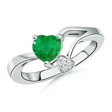 Green Emerald Double Heart Diamond Engagement Ring 14k White Gold Size 3-13