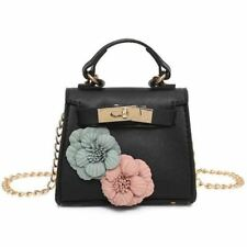 Women Summer Mini Flower Design Flap Long Solid Color Chain Shoulder Bag