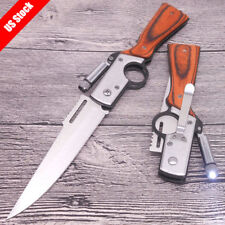 Military Pocket Folding Knife Stainless Steel Blade +Case Survival Hunting Knife