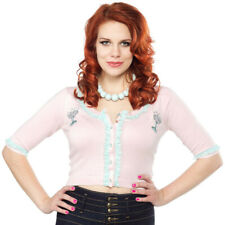 SOURPUSS Champagne Cropped 50s Rockabilly TOAST OF THE TOWN BELLA CARDIGAN Pink