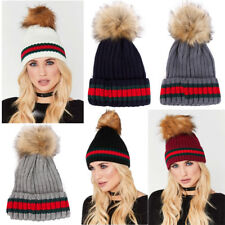 Womens Designer Green Red Stripe Knitted Faux Fur Detachable Pom Pom Beanie Hat