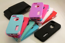 [Two Pcs] 3 Layer Hard Cases iPhone 6 Plus 5 5C or iPod Touch 5 /6  With Holster