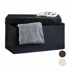 Foldable Storage Bench Ottoman Seating Box Folding Footstool Faux Leather