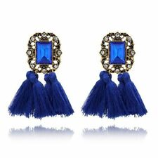 Square Shaped Crystal & Tassel Decorated Earrings For Women