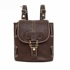 Simple Style Solid Color Pu Leather Flap Pocket Backpack for Teenage Girl