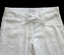 New Womens White Linen NEXT Crop Trousers Size 10 8