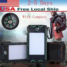 100000mah Solar Power Bank 2 USB LED Battery Charger For Phone With Compass USA