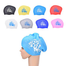 Women swimming caps Silicone Long Hair Girls Waterproof Swimming Cap Ear Cup* fq