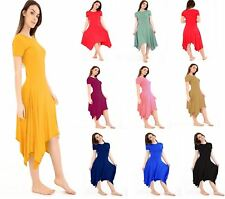 Womens Long Hanky Hem Cap Sleeve Ladies Flared Swing Dress