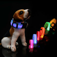 LED Light Up Dog Collar Nylon Pet Night Safety Bright Flashing Adjustable NEW