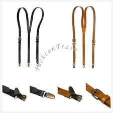 Mens Women's Adjustable Elastic Suspenders Y-Shaped Clip-on Retro Braces Leather