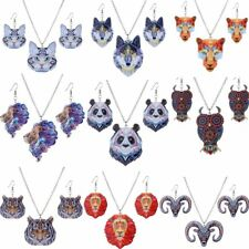 Print Pattern Cat Animals Pendant Necklace Earring Women Jewelry Sets Xmas Gift