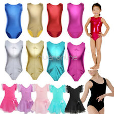 Kids Gymnastics Girls Leather Ballet Dance Leotard Tutu Dress Costume Dancewear