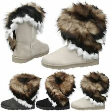 WOMENS ANKLE BOOTS LADIES SNUGG SHOES FUR LINED FLAT WINTER SNOW STYLE SIZE NEW