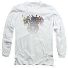 Justice League Heroes CIRCLE CREST Licensed Adult Long Sleeve T-Shirt S-3XL