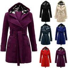 Womens Warm Hooded Long Jacket Coat Outwear Parka Tops Overcoat Pea Coat Trench