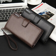 Mens Long Wallet Card Holder Big Purse Genuine Leather Business ID Bifold Clutch
