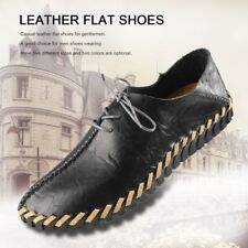 Spring Summer Autumn Men Fashion Casual Leather Flat Shoes Soft Lace-up Shoes GA