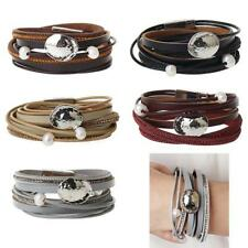Fashion Punk Multilayer Bracelet Leather Bangle Wristbands Faux Pearl Retro