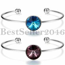 Fashion Womens Lady Swarovski Crystal Open Cuff Bangle Charm Bracelet Jewelry