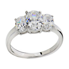 Sterling Silver Round Three Stone Cubic Zirconia Jewelry Women Engagement Ring