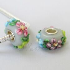 Gray Floral Lampwork Glass 15mm Large Hole European Beads EB1066 - 1, 2 Or 5PCs