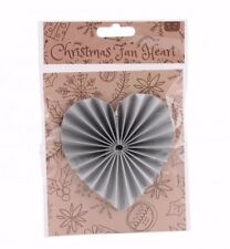 Vintage Christmas Decoration Hanging STAR, HEART or ANGEL Origami Paper Silver