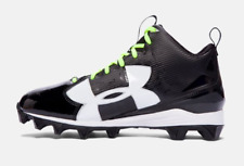 NEW UNDER ARMOUR CRUSHER RM BLACK & WHITE FOOTBALL CLEATS w/ Customizable Laces