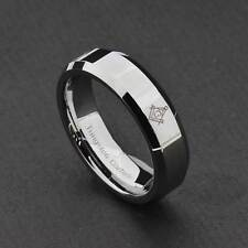 6mm Tungsten Carbide Silver Flat Beveled Edge Unisex Wedding Band Ring
