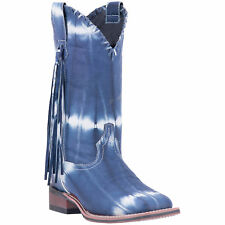 Laredo Womens Blue/White Cowboy Boots Leather Cowboy Boots Square Toe