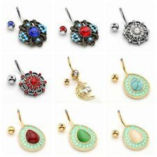 1x Vintage Stainless Steel Belly Button Navel Ring Holow Drop Gemstone Dangle