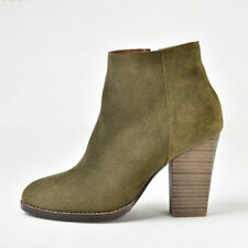 Winter Women Suede Leather Chelsea Boots Wood Block High Heel Ankle Bootie Shoes