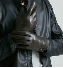 Mens Classic Driving Gloves Soft Genuine Real Lambskin Leather Black Brown