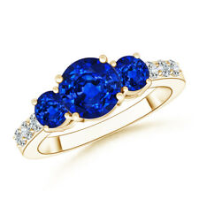 Three Stone Round Sapphire Ring with Diamond Accents 14K Yellow Gold